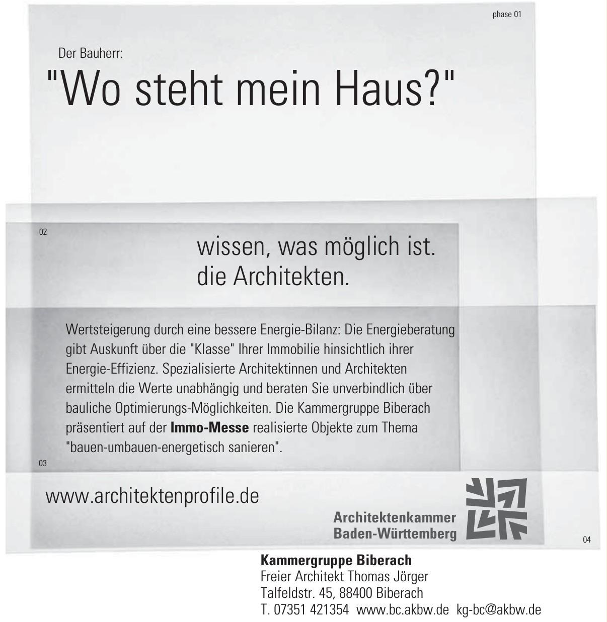 Kammergruppe Biberach - Freier Architekt Thomas Jörger